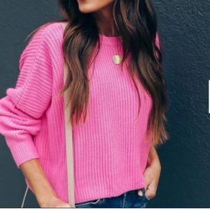 Hot pink cropped sweater, NWT